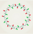 wreath of green and red christmas lights vector image vector image