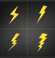 yellow lightning set of four isolated on black vector image vector image