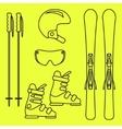 Ski gear line icon set vector image