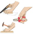 Collection - hand with tool Industrial set icon vector image