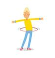 cute blonde teenager girl spinning a hula hoop vector image