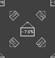 75 discount icon sign Seamless pattern on a gray vector image