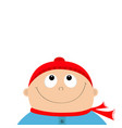 baby boy wearing red hat and scarf kid face vector image