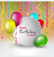 birthday card with round pointer and balloons vector image vector image