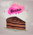 brownie cake on artistic watercolor background vector image