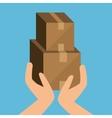cardboard box cargo shipping design isolated vector image