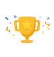 cartoon golden trophy with confetti award vector image vector image