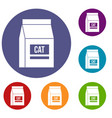 cat food bag icons set vector image vector image
