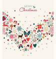 christmas greeting card with vintage holiday icons vector image vector image