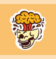 colorful screaming skull sticker with brain vector image