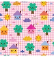 cute houses trees and clouds kids nature pattern vector image