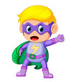 cute smiling child boy in superhero costume vector image