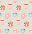 cute winter season seamless pattern hand drawn vector image