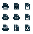 file icons set with archive programming language vector image vector image