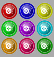 film icon sign symbol on nine round colourful vector image
