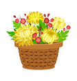 floral arrangement with yellow peony in box vector image vector image