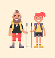 hiking concept smiling young man and girl vector image