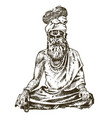 hindu in national dress indian spiritual monk vector image