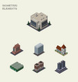 isometric building set of company office house vector image