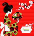 Japanese girl silhouette vector image vector image