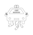 just married car outline vector image