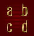 lowercase gold font isolated a b c d letters vector image vector image