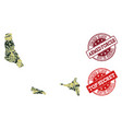 military camouflage collage of map of comoros vector image vector image