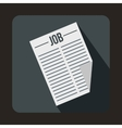 Newspaper with the headline Job icon flat style vector image vector image