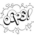 oops word comic book coloring vector image vector image