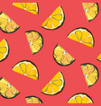 organic lemon graphic on coral background vector image vector image