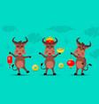 oxen cartoons happy new year 2021 vector image vector image