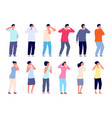 people cover face covering eyes timides shy vector image