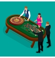 Roulette wheel and croupier in casino Group of vector image