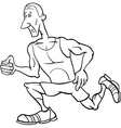 runner sportsman cartoon coloring page vector image vector image
