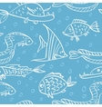 Seamless pattern with fish in the sea vector image vector image