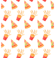 Seamless pattern with pizza slices and French vector image vector image