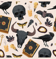 seamless pattern with raven and magic book vector image vector image