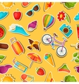 Seamless pattern with summer stickers Background vector image vector image