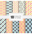 set of 10 seamless patterns with geometry design vector image