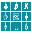 Set of flat colored simple Christmas elements vector image
