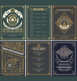 set of restaurant menu templates vintage style vector image