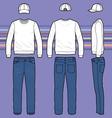 Sweatshirt cap and jeans set vector image vector image