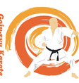 The the man is engaged in karate on a bright vector image