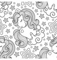 unicorns seamless pattern black and white vector image vector image