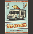 vintage colored fresh ice cream poster vector image vector image