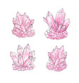 watercolor set of pink quartz cluster crystals vector image