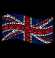 waving uk flag collage of mechanic gear service vector image