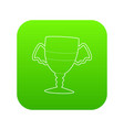 winner cup icon green vector image vector image