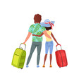 young couple with travel bags back view man and vector image vector image