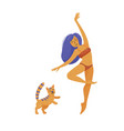 young pretty woman in bikini dancing with her cat vector image